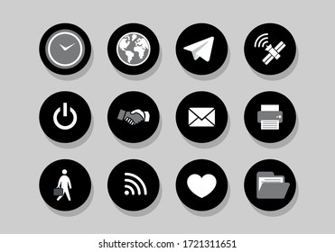 internet business icons black and white