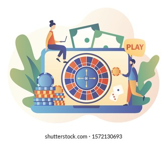 Internet Casino and Gambling Concept. Tiny people gaming online gambling games. People play online Roulette. Modern flat cartoon style. Vector illustration