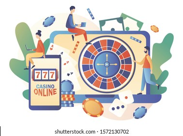 Internet Casino and Gambling Concept. Tiny people gaming online gambling games. People play online Poker, Roulette, Slot Machine. Modern flat cartoon style. Vector illustration