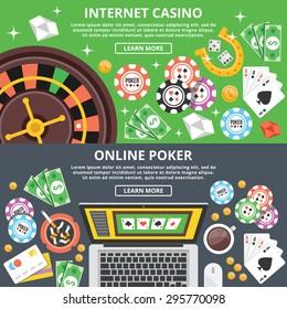 Internet casino, online poker flat illustration concepts set. Flat design concepts for web banners, web sites, printed materials, infographics. Creative vector illustration