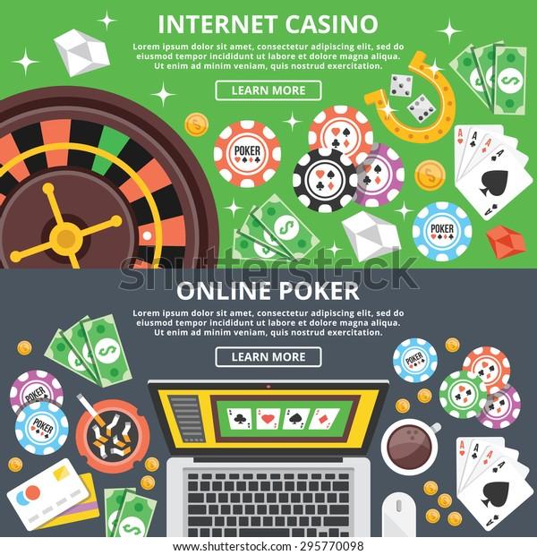 Internet Casino Online Poker Flat Illustration Stock Vector Royalty Free 295770098