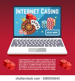 Internet casino page template with dice, poker, cards. Web poker and gambling game illustration