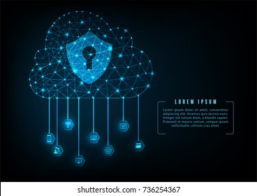 Internet cloud data security concept with Keyhole icon on digital data background. Illustrates cyber data or information privacy idea. Blue abstract hi speed internet technology.