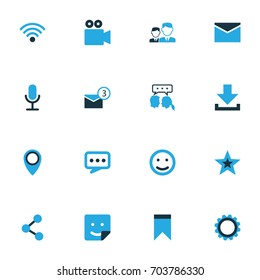 Internet Colorful Icons Set. Collection Of Location, Friends, Notification And Other Elements. Also Includes Symbols Such As Camcorder, Arrow, Wireless.