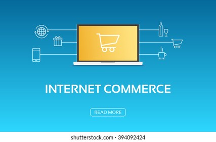 Internet Commerce Laptop & Icons