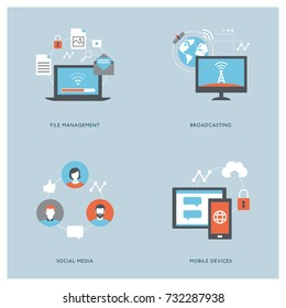 Internet, computers, mobile devices and social media concepts with icons