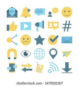 Internet concept. Idea of global network. Worlwide connection, storage and information. Modern technology. Set of colorful icons. Isolated flat illustration