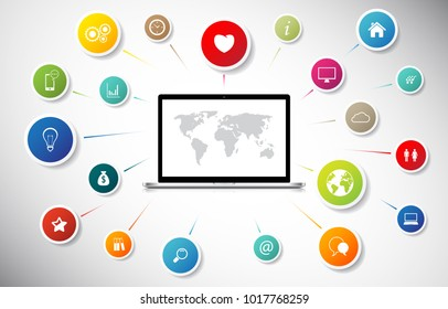 Internet concept. Laptop connect to global social network communication.