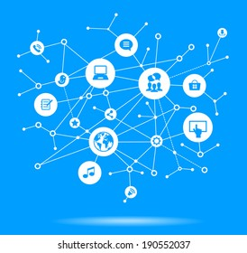Internet concept. Network background with nodes, social media and communication icons.  File is saved in AI10 EPS version. This illustration contains a transparency