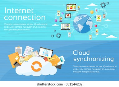 Internet Connection Cloud Synchronizing Computer Device Network Web Banner Set Flat Design Vector Illustration