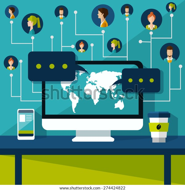Internet connection. social network
