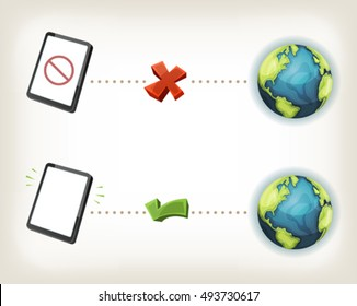 Internet Connexion Icons/ Illustration of web communication icons, symbolizing connected and disconnected state of smartphone or tablet pc device to internet