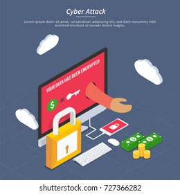 Internet cyber attacks, phishing and fraud, heck, and security concept. Fin-tech (financial technology) background. 3D style.