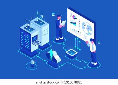 Internet data center connection administrator of web hosting. Tech repair hardware software database for safe server vector illustration. Technology flat style concept
