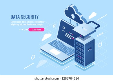 Internet data security concept, laptop with server rack and lock, protection and encryption data transfer, cloud data storage isometric icon, database query, pc antivirus flat vector illustration blue