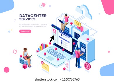 Internet datacenter connection, administrator of web hosting concept. Character and text for services. Tech repair center hardware software database for safe server. Flat isometric vector illustration
