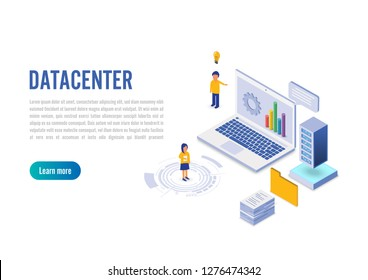 Internet datacenter connection, administrator of web hosting concept. Character and text for services. Technology center hardware software database for safe server. Flat isometric vector illustration.