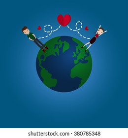 Internet Dating Vector Flat Design Long Distance Relationship Illustration with Earth Globe, Couple in Long Distance Love, Blue Background, Red Hearts, Man and Woman