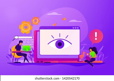 Internet defamation, persistent stalking. Privacy assault, obsessed stalker. Cyberstalking, pursuit of social identity, online false accusations concept. Vector isolated concept creative illustration
