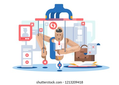 Internet dependent puppet wooden doll icon. Social media manipulation concept. Man marionette controlled. Flat. Vector illustration.