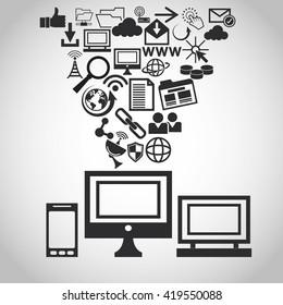 Internet design. online icon. Technology concept, vector illustration