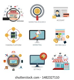Internet design vector icons collection of  Shopping Online, Marketing Research, Account, Funding Platform, Marketing, Pay Per Click, Settings . Internet design elements for mobile and web application