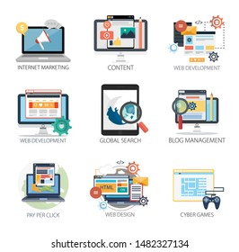 Internet design vector icons collection of  Internet Marketing, Content, Web Development, Global Search, Blog Management, Pay Per Click, Web Design, Cyber Games . Internet design elements.