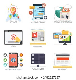 Internet design vector icons collection of  Affiliate, App Development, Domain Registration, Video, Wireframe, Information Share, Data Center, Fluid grid. Internet design elements.