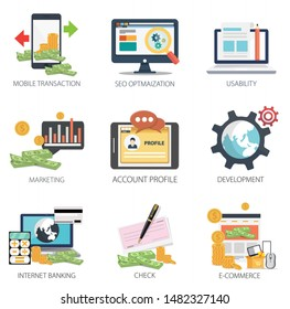 Internet design vector icons collection of  Mobile Transaction, SEO Optimization, Usability, Marketing, Account Profile, Development, Internet Banking, Check, E-Commerce . Internet design elements.