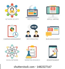 Internet design vector icons collection of  Network Security, Web Presence, Article Writing, Campaign Management, SEO Consulting, Blog Management, Social Network, Marketing Research, Advertisement.