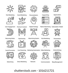 Internet and Digital Marketing Colored Line Icons