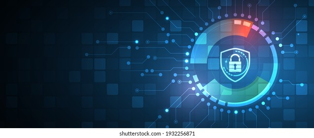 internet digital security technology concept for business background. Lock on circuit board. Protect data
