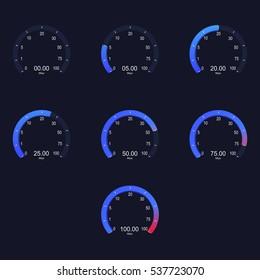 Internet digital speed meter. Vector illustration on blue background. Speed test.
