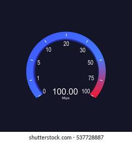 Internet digital speed meter. Vector illustration on black background. Speed test. Neon lights.