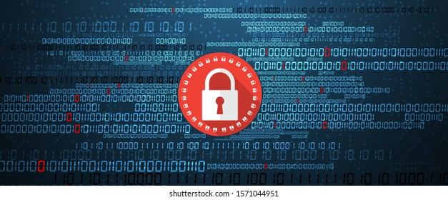 internet digital syber security technology concept for business background. Lock on circuit board