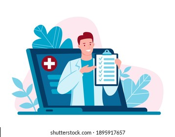 Internet doctor. Telemedicine. Doctor's consultation via the Internet with a doctor. Medicine and healthcare concept. Online medical care for patients. Vector illustration in flat cartoon style.