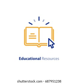 Internet education concept, e-learning resources, distant online courses, vector line icon