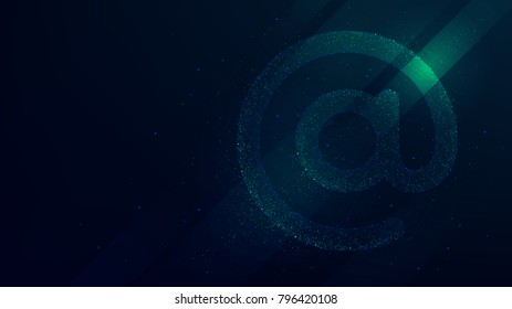 Internet email symbol vector illustration, future technology background