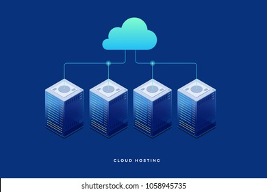 Internet equipment industry. Data transmission technology and data protection. Illustration of network telecommunication server. Cloud storage. 3d isometric flat design.