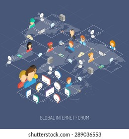 Internet forum concept with isometric people avatars speech bubbles and world map vector illustration