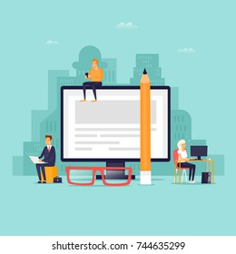 Internet Forum. Technologies. Flat design vector illustration.
