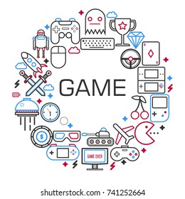 Internet games poster of electronic game and gaming devices vector outline icons