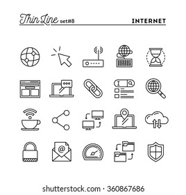 Internet, global network, cloud computing, free WiFi and more, thin line icons set, vector illustration