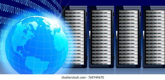 Internet Global World with Communication Technology, Data Center, Server Racks
