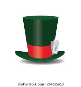 Internet green Hat Mad Hatter vector illustration.