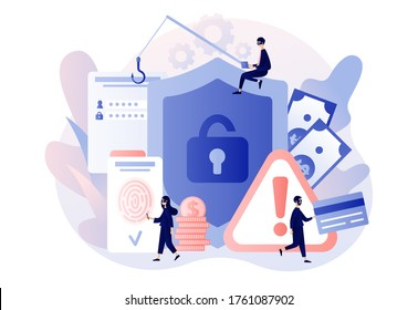 Internet hacker attack and personal data security concept. Tiny anonymous hacker people attacking computer. Attention sign. Data protection. Modern flat cartoon style. Vector illustration