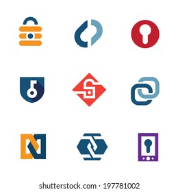 Internet home secure lock security system technology logo icons - Stock Illustration