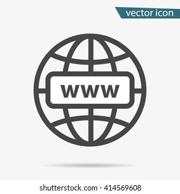 Internet http address icon isolated. Modern flat globe sign. Trendy vector network www symbol for web site design, button to mobile app. Logo online, internet illustration.