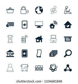 Internet icon. collection of 25 internet filled and outline icons such as globe, house building, poker on phone, top of cargo box. editable internet icons for web and mobile.