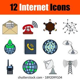 Internet Icon Set. Flat Color Outline Design With Editable Stroke. Vector Illustration.